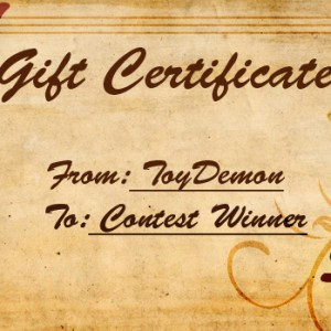 ToyDemon $50 Gift Certificate Giveaway Contest
