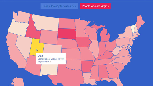 Interesting Stats From OkCupid for 2015 map